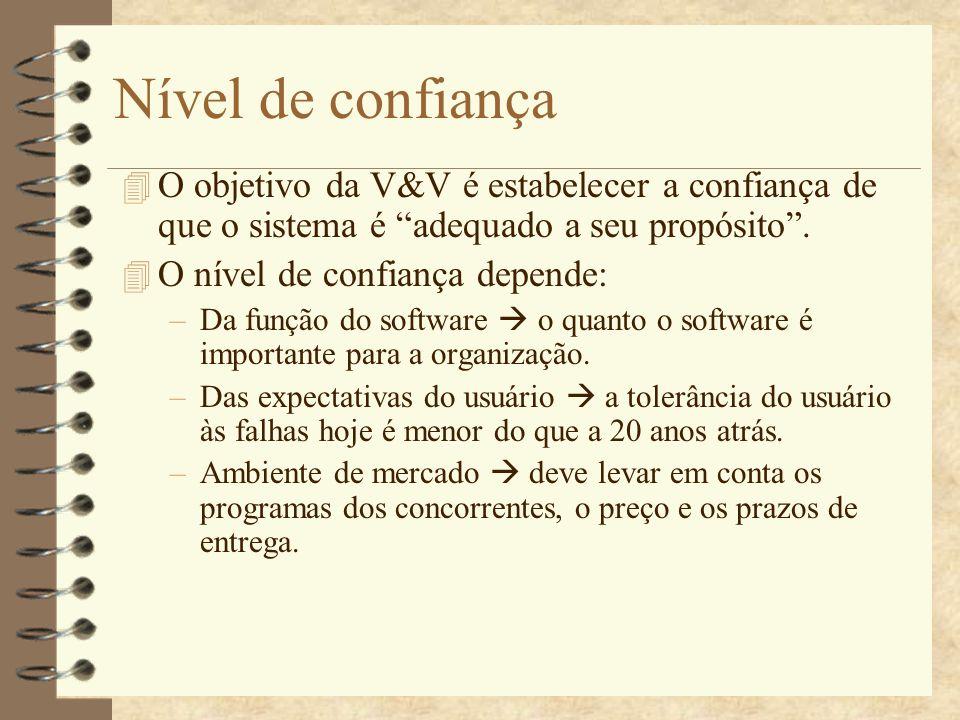 Nível de confiança O objetivo da V&V é estabelecer a confiança de que o sistema é adequado a seu propósito .