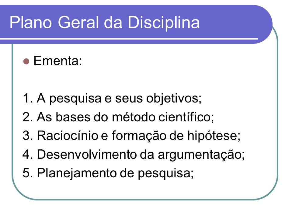 Plano Geral da Disciplina