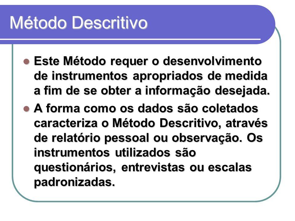 Método Descritivo Este Método requer o desenvolvimento de instrumentos apropriados de medida a fim de se obter a informação desejada.