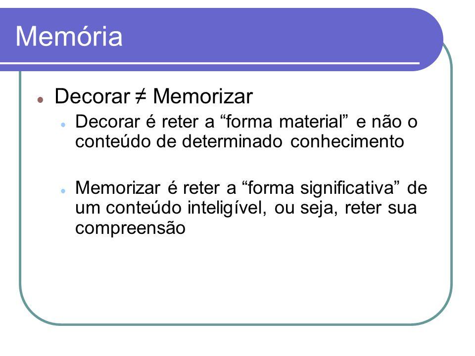 Memória Decorar ≠ Memorizar