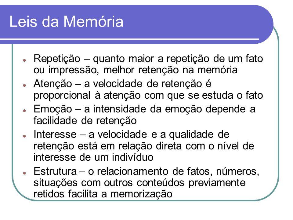 Leis da Memória Repetição – quanto maior a repetição de um fato ou impressão, melhor retenção na memória.