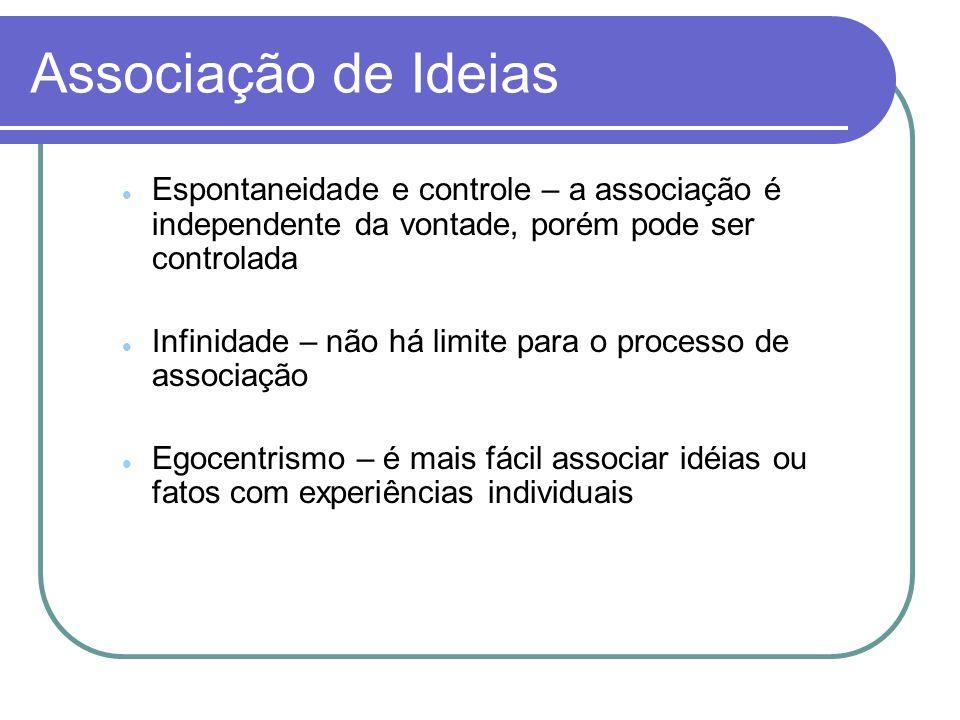 Associação de Ideias Espontaneidade e controle – a associação é independente da vontade, porém pode ser controlada.
