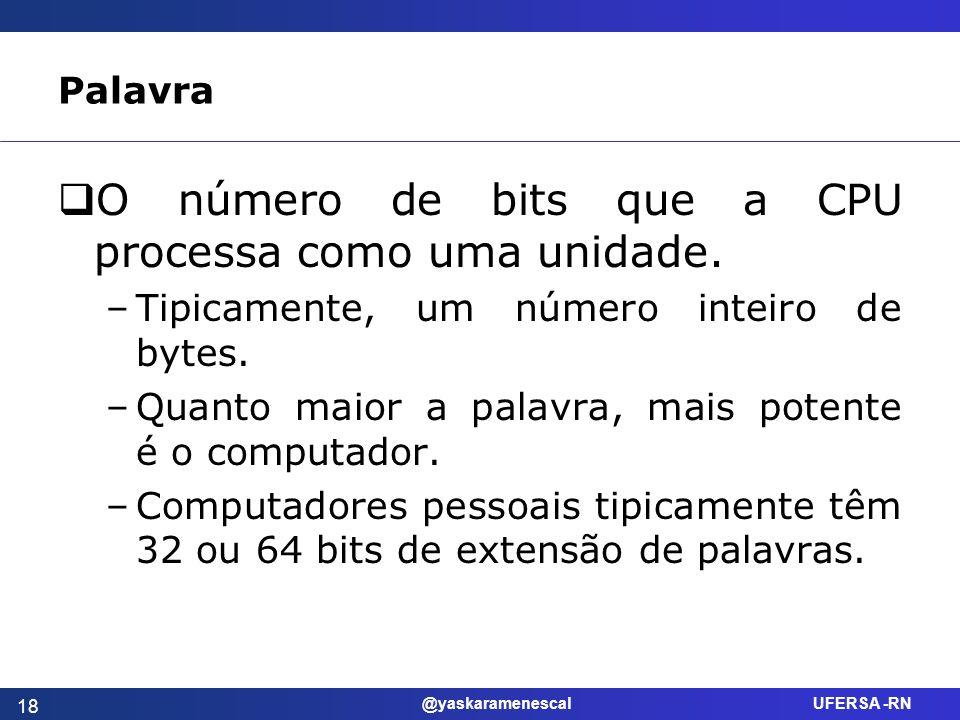 O número de bits que a CPU processa como uma unidade.