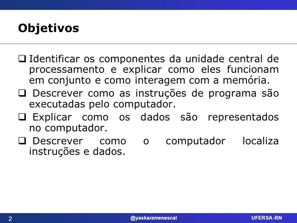 Objetivos Identificar os componentes da unidade central de processamento e explicar como eles funcionam em conjunto e como interagem com a memória.