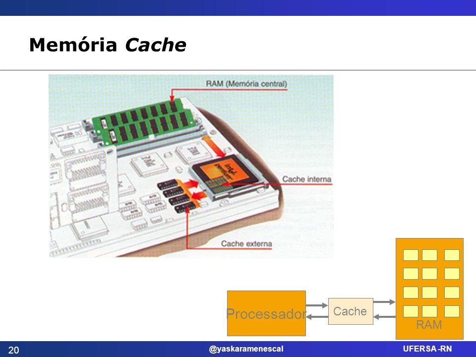 Memória Cache Processador Cache RAM