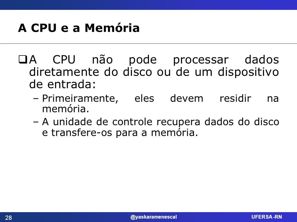 A CPU e a Memória A CPU não pode processar dados diretamente do disco ou de um dispositivo de entrada: