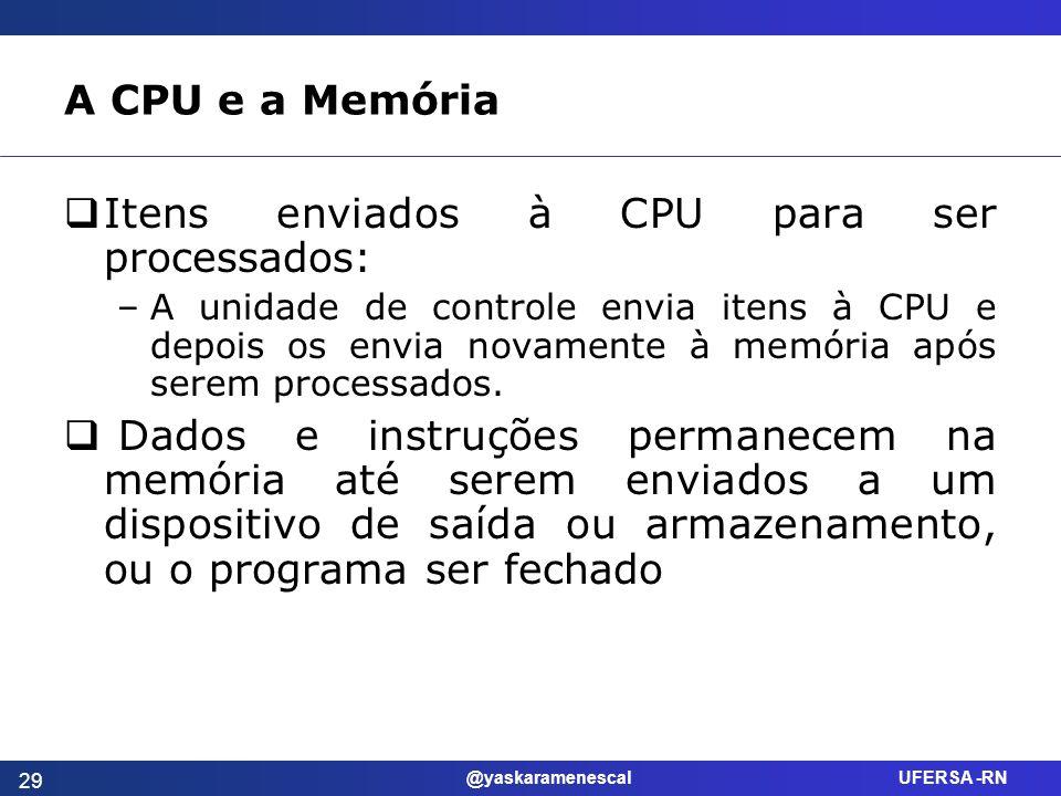 Itens enviados à CPU para ser processados: