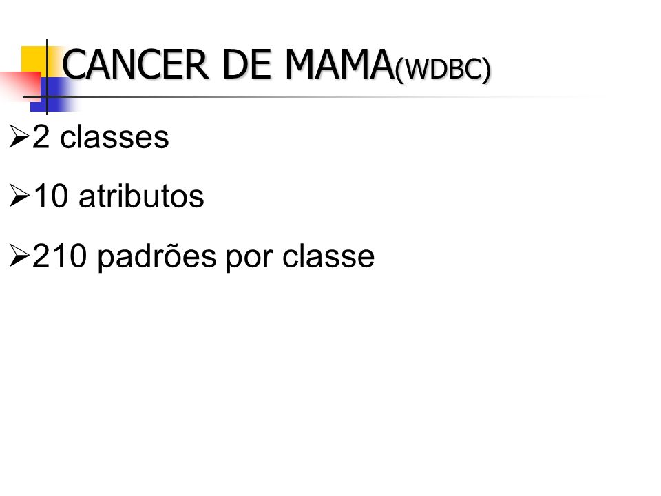 CANCER DE MAMA(WDBC) 2 classes 10 atributos 210 padrões por classe