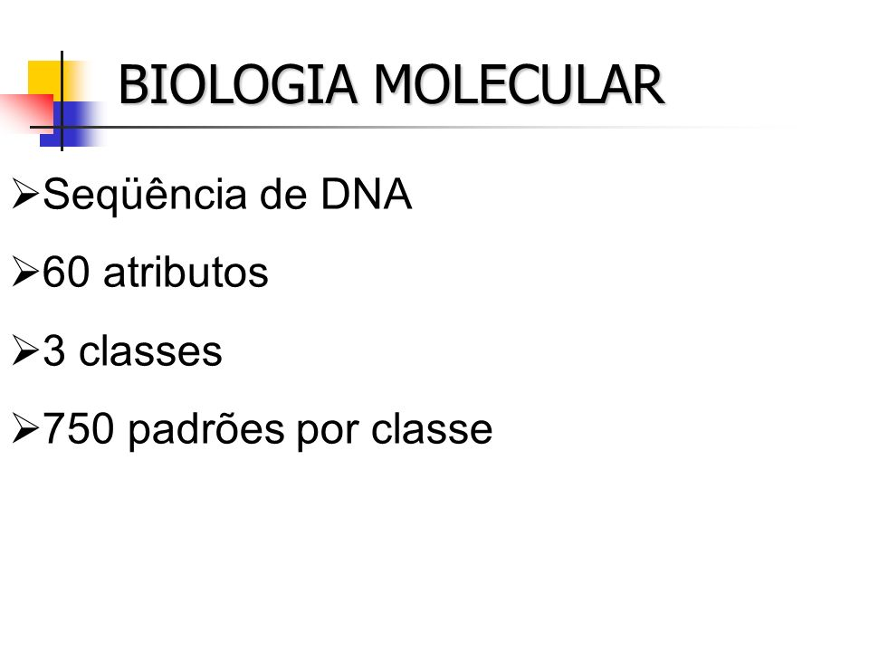 BIOLOGIA MOLECULAR Seqüência de DNA 60 atributos 3 classes