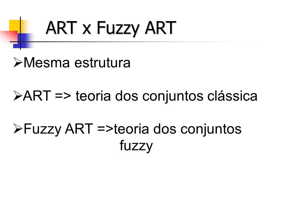 ART x Fuzzy ART Mesma estrutura