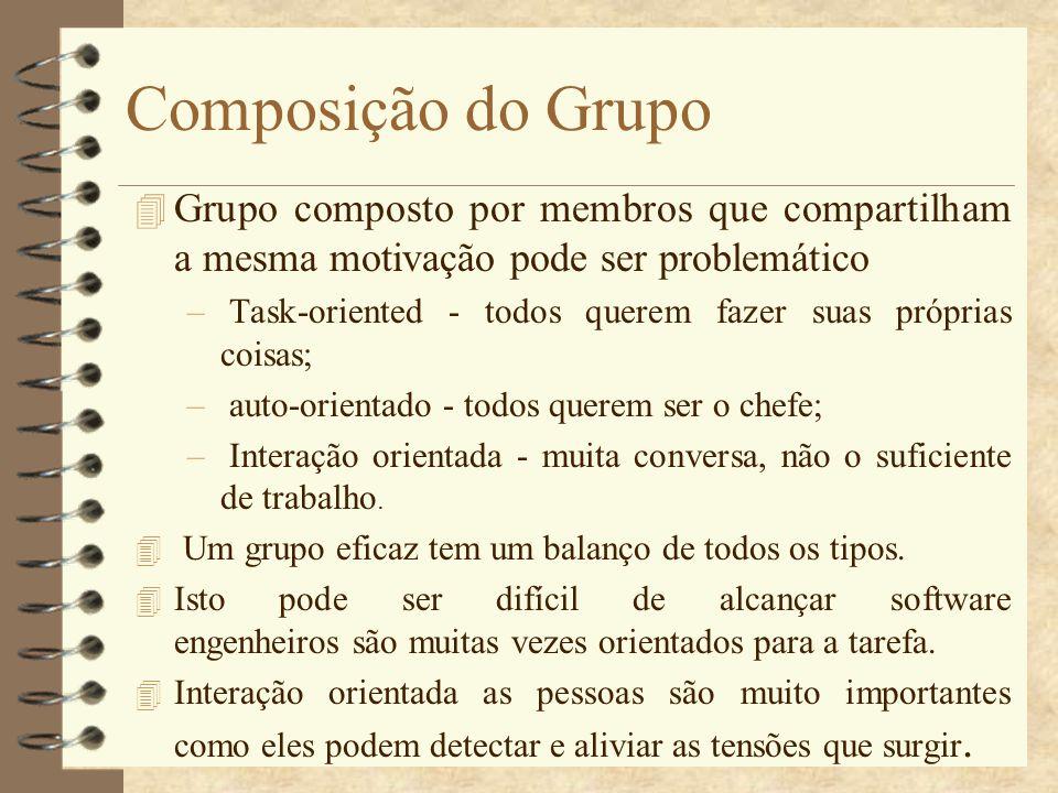 Composição do Grupo Grupo composto por membros que compartilham a mesma motivação pode ser problemático.