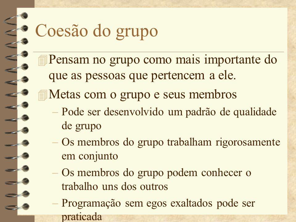 Coesão do grupo Pensam no grupo como mais importante do que as pessoas que pertencem a ele. Metas com o grupo e seus membros.