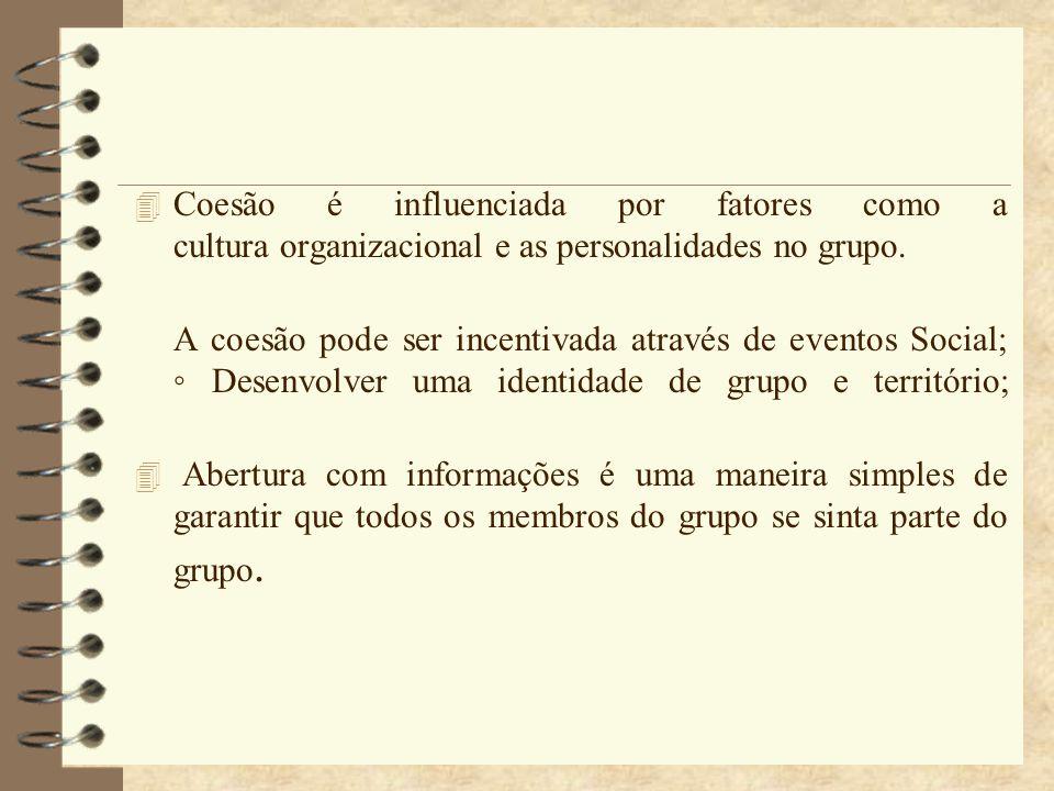 Coesão é influenciada por fatores como a cultura organizacional e as personalidades no grupo.