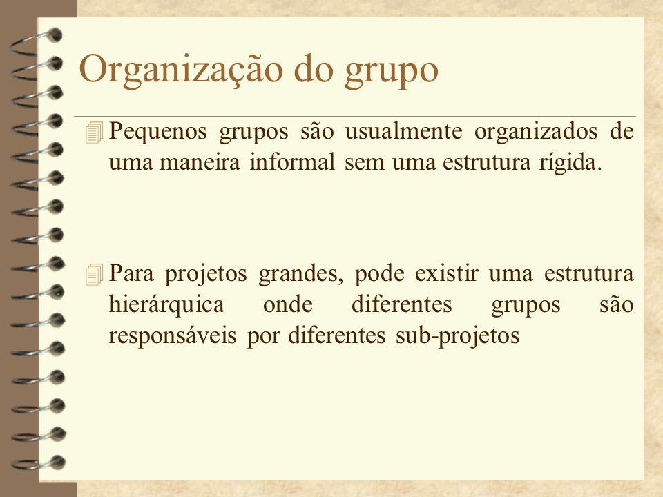 Organização do grupo Pequenos grupos são usualmente organizados de uma maneira informal sem uma estrutura rígida.