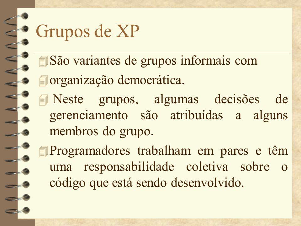 Grupos de XP São variantes de grupos informais com
