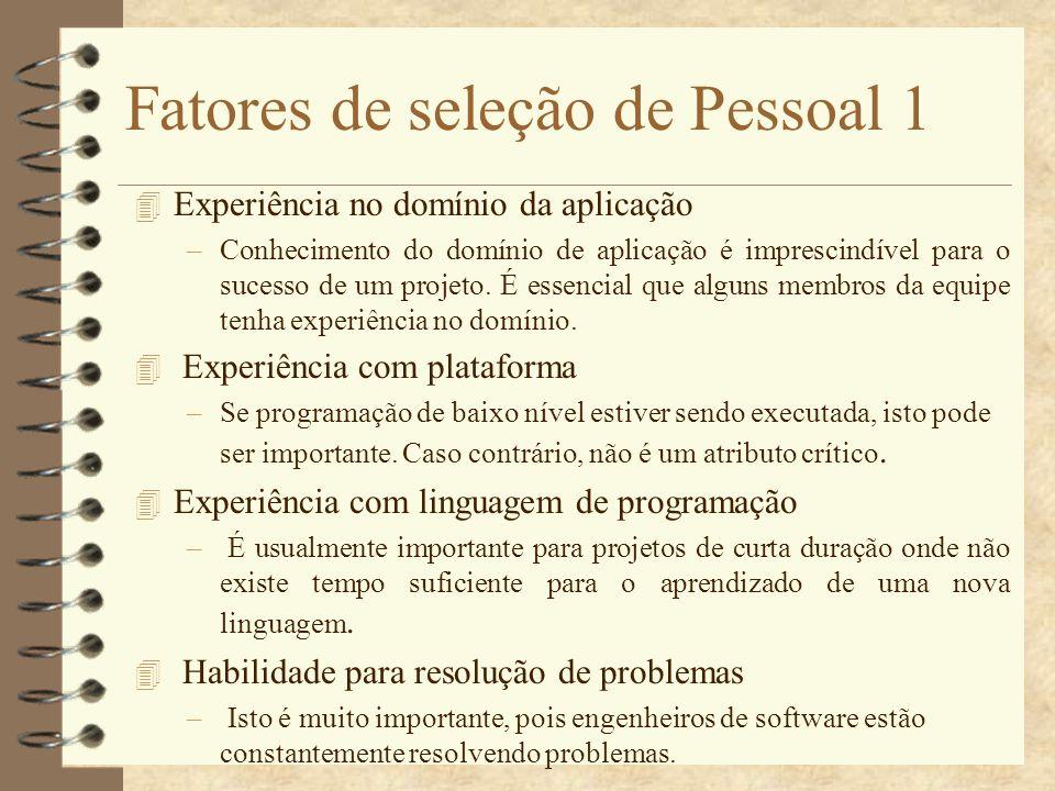 Fatores de seleção de Pessoal 1