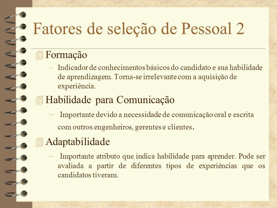 Fatores de seleção de Pessoal 2