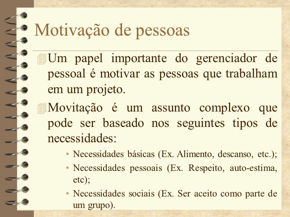 Motivação de pessoas Um papel importante do gerenciador de pessoal é motivar as pessoas que trabalham em um projeto.