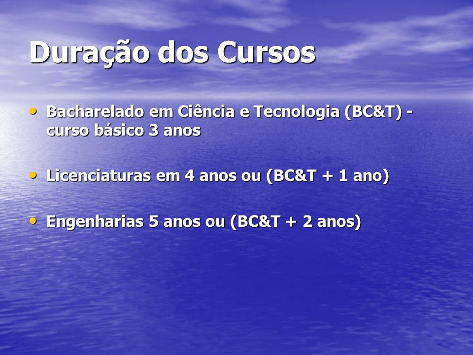 Duração dos Cursos Bacharelado em Ciência e Tecnologia (BC&T) - curso básico 3 anos. Licenciaturas em 4 anos ou (BC&T + 1 ano)