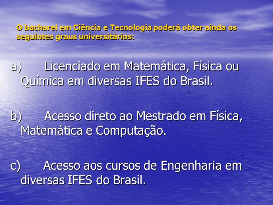 b) Acesso direto ao Mestrado em Física, Matemática e Computação.