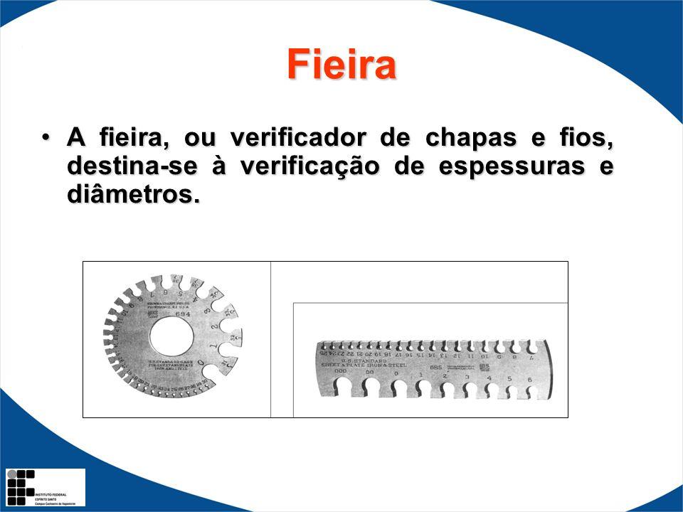 Fieira A fieira, ou verificador de chapas e fios, destina-se à verificação de espessuras e diâmetros.