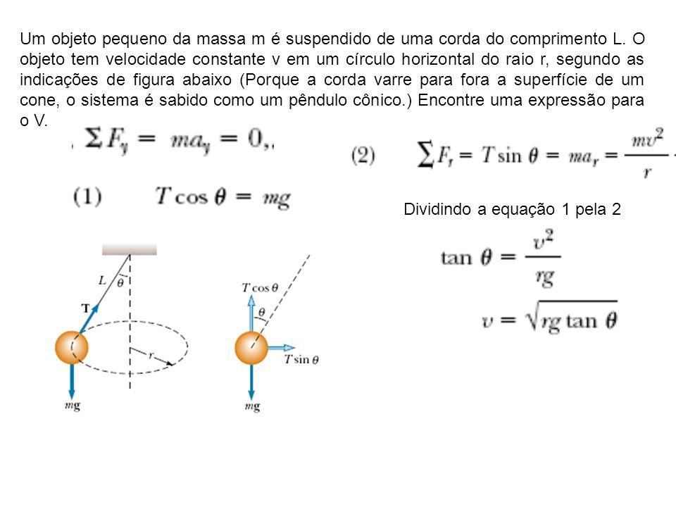Um objeto pequeno da massa m é suspendido de uma corda do comprimento L. O objeto tem velocidade constante v em um círculo horizontal do raio r, segundo as indicações de figura abaixo (Porque a corda varre para fora a superfície de um cone, o sistema é sabido como um pêndulo cônico.) Encontre uma expressão para o V.