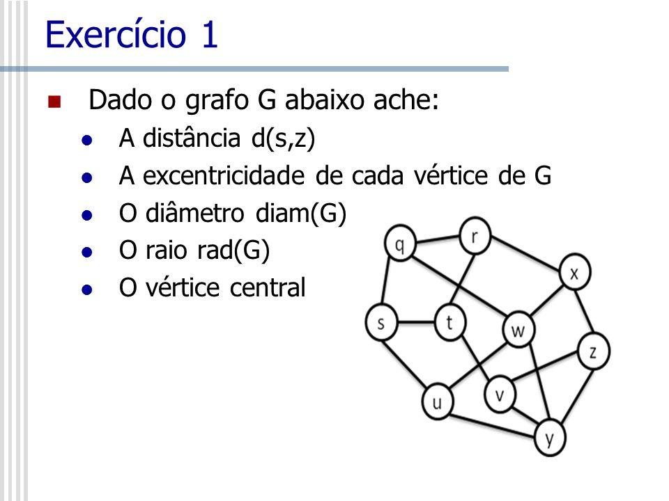 Exercício 1 Dado o grafo G abaixo ache: A distância d(s,z)
