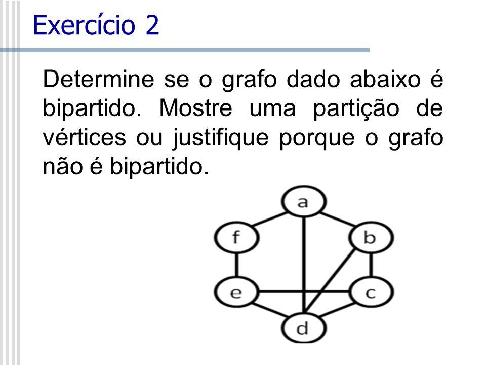Exercício 2 Determine se o grafo dado abaixo é bipartido.