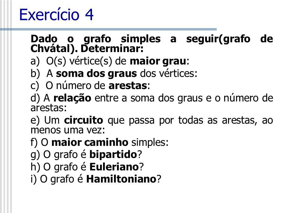 Exercício 4 Dado o grafo simples a seguir(grafo de Chvátal). Determinar: a) O(s) vértice(s) de maior grau: