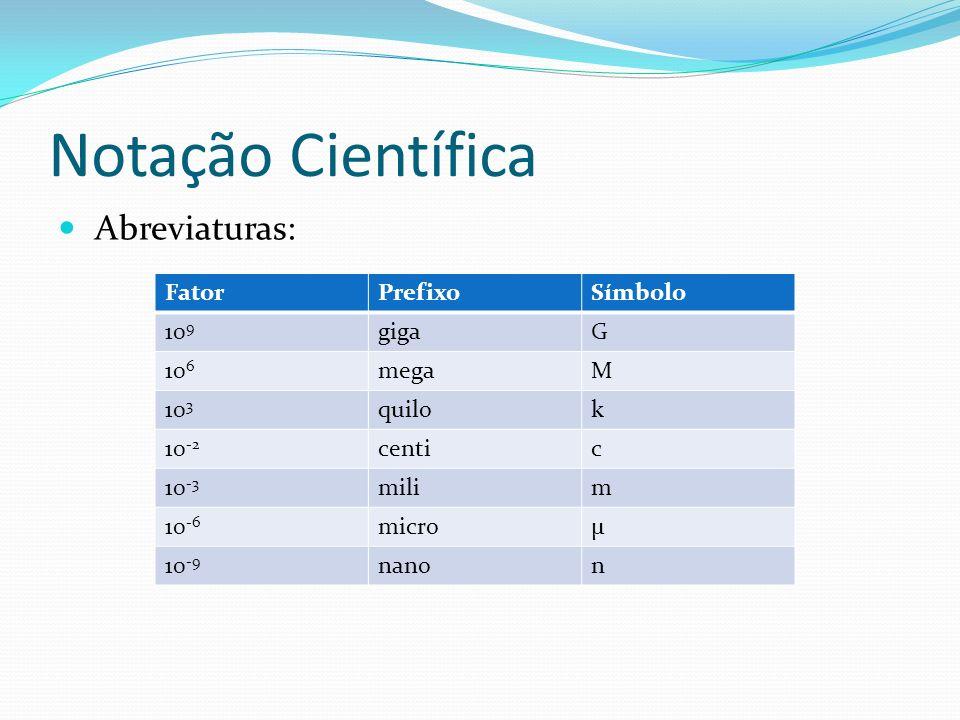 Notação Científica Abreviaturas: Fator Prefixo Símbolo 109 giga G 106