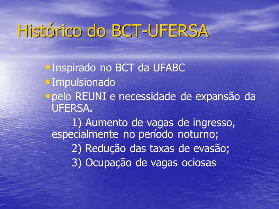 Histórico do BCT-UFERSA