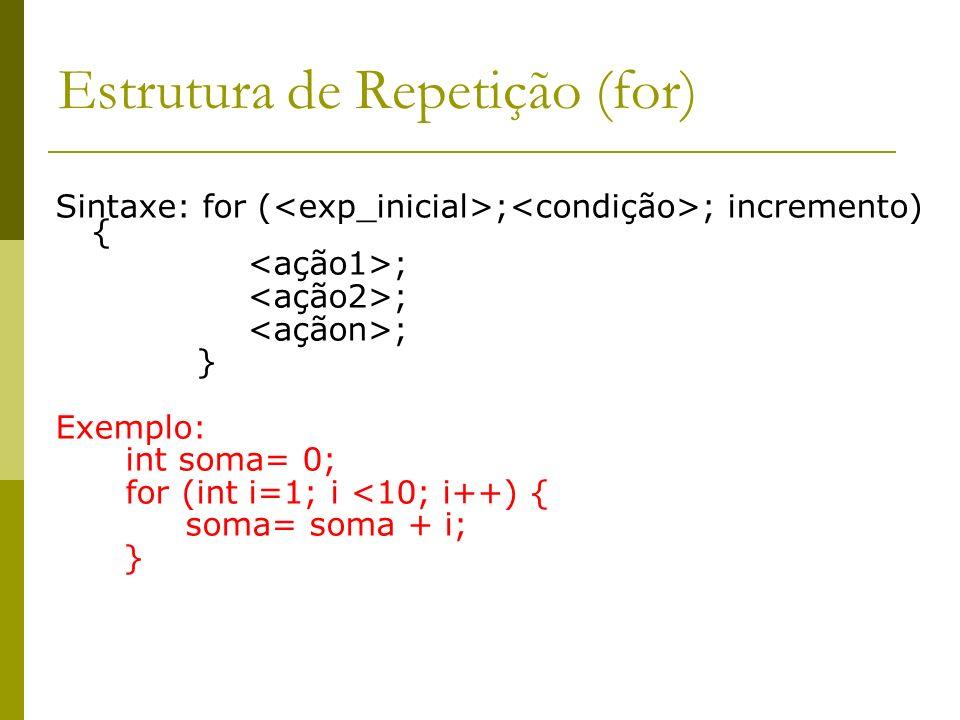 Estrutura de Repetição (for)
