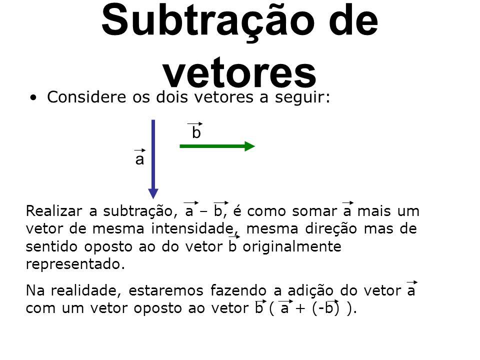 Subtração de vetores b a Considere os dois vetores a seguir: