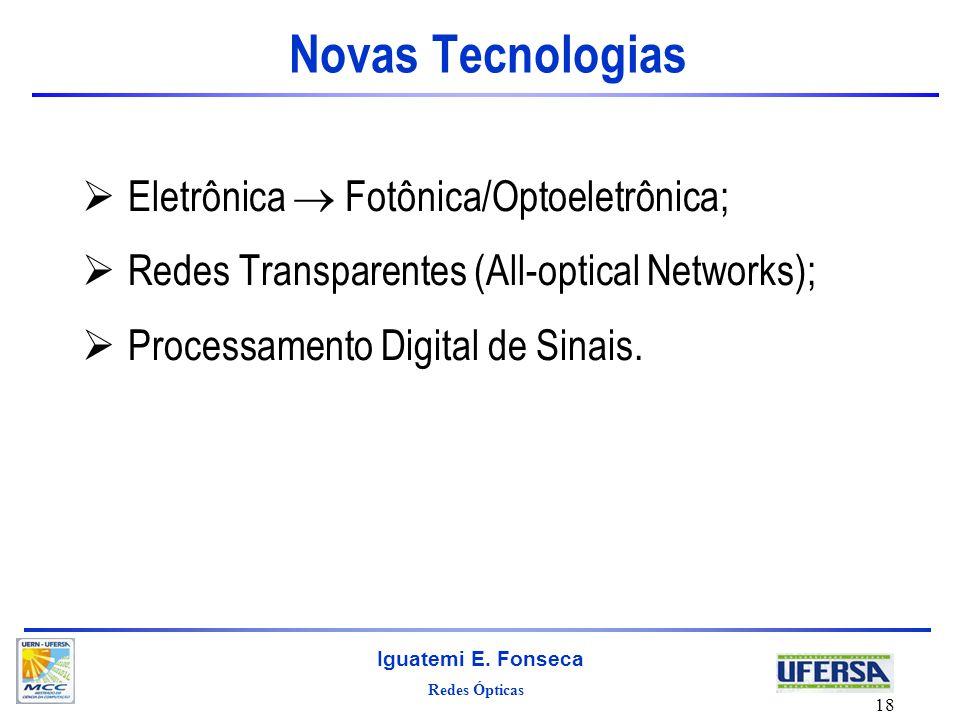 Novas Tecnologias Eletrônica  Fotônica/Optoeletrônica;