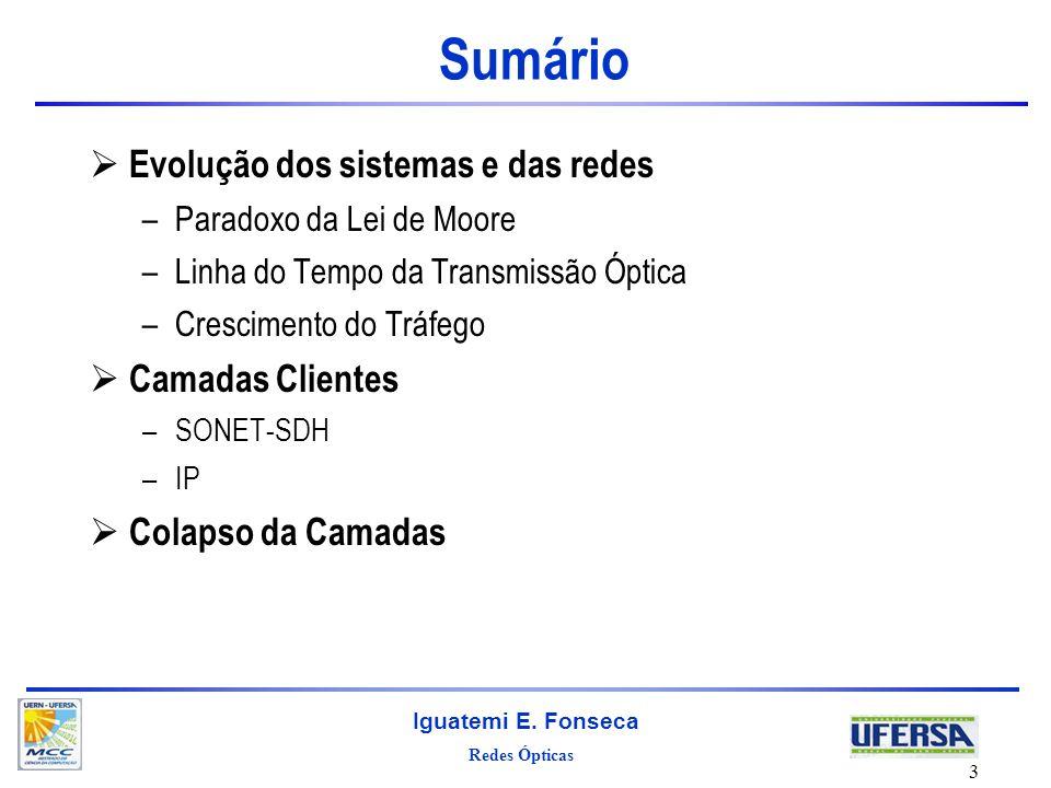 Sumário Evolução dos sistemas e das redes Camadas Clientes