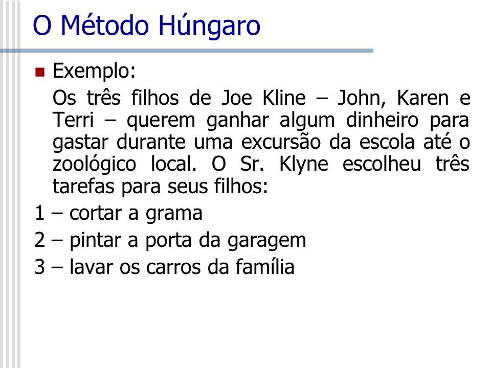 O Método Húngaro Exemplo: