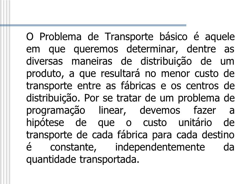 O Problema de Transporte básico é aquele em que queremos determinar, dentre as diversas maneiras de distribuição de um produto, a que resultará no menor custo de transporte entre as fábricas e os centros de distribuição.