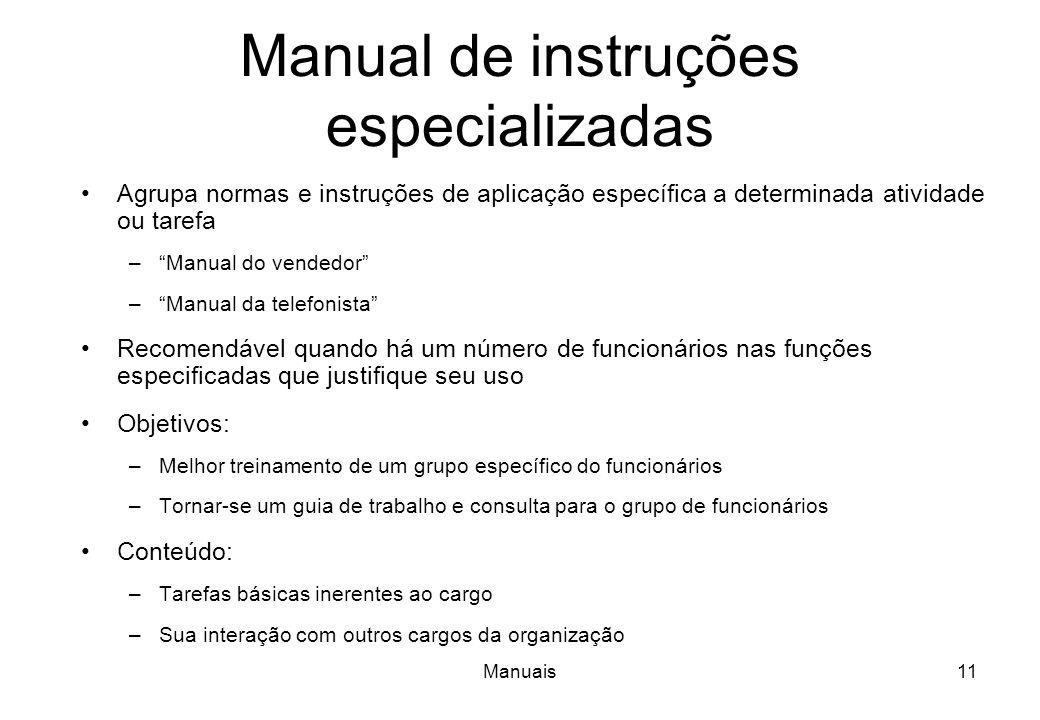 Manual de instruções especializadas