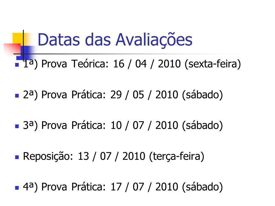 Datas das Avaliações 1ª) Prova Teórica: 16 / 04 / 2010 (sexta-feira)