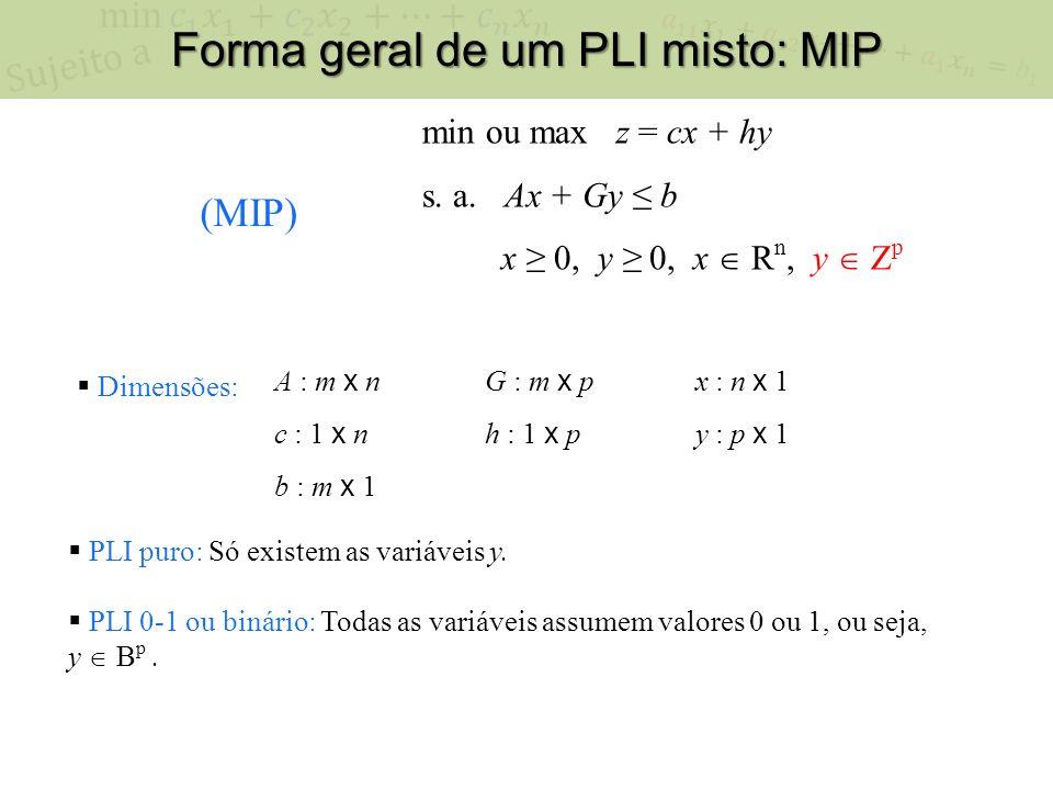 Forma geral de um PLI misto: MIP