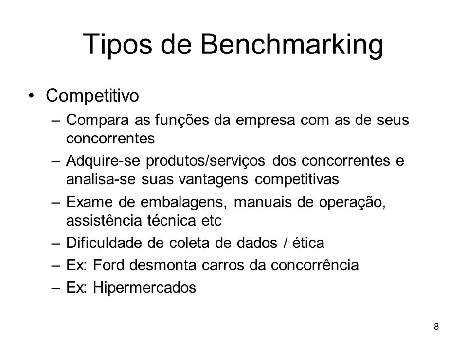 Tipos de Benchmarking Competitivo