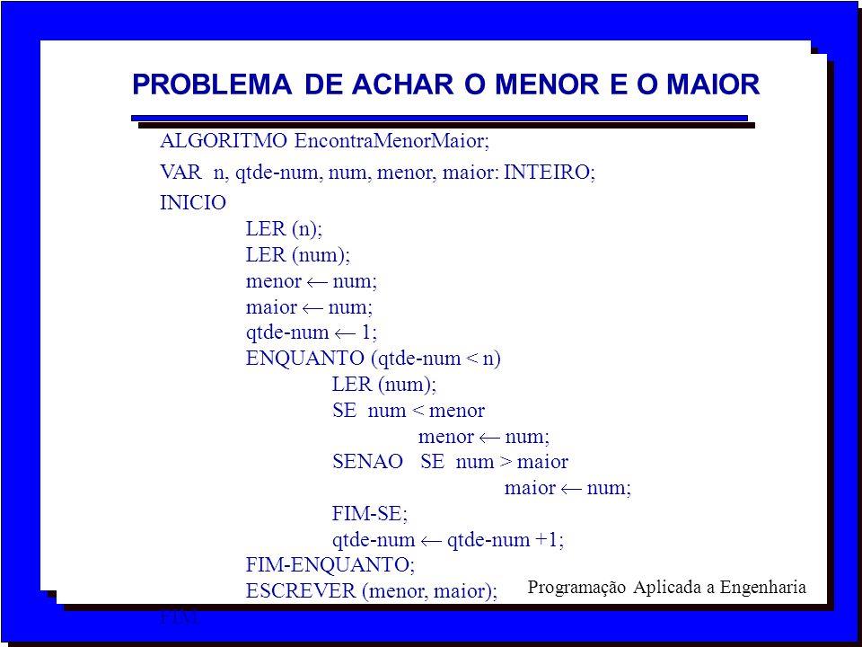 PROBLEMA DE ACHAR O MENOR E O MAIOR