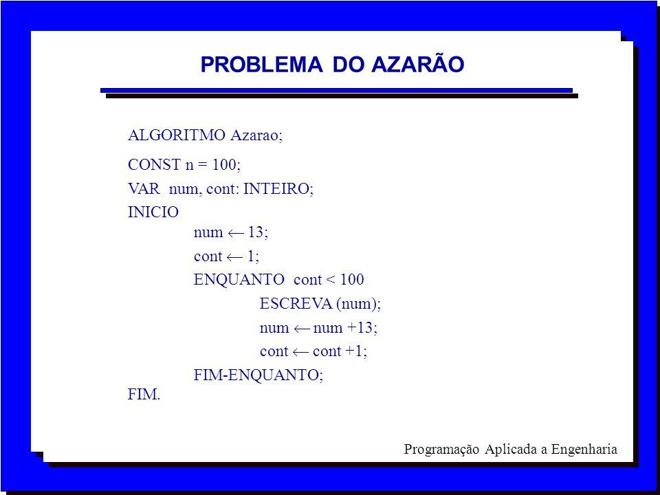 PROBLEMA DO AZARÃO ALGORITMO Azarao; CONST n = 100;