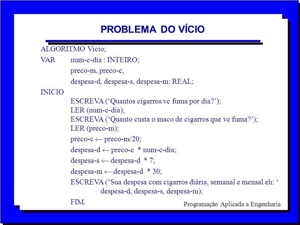 PROBLEMA DO VÍCIO ALGORITMO Vicio; VAR num-c-dia : INTEIRO;