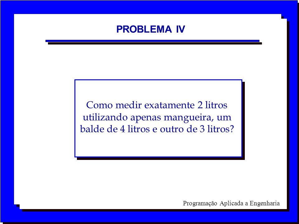 PROBLEMA IV Como medir exatamente 2 litros utilizando apenas mangueira, um balde de 4 litros e outro de 3 litros