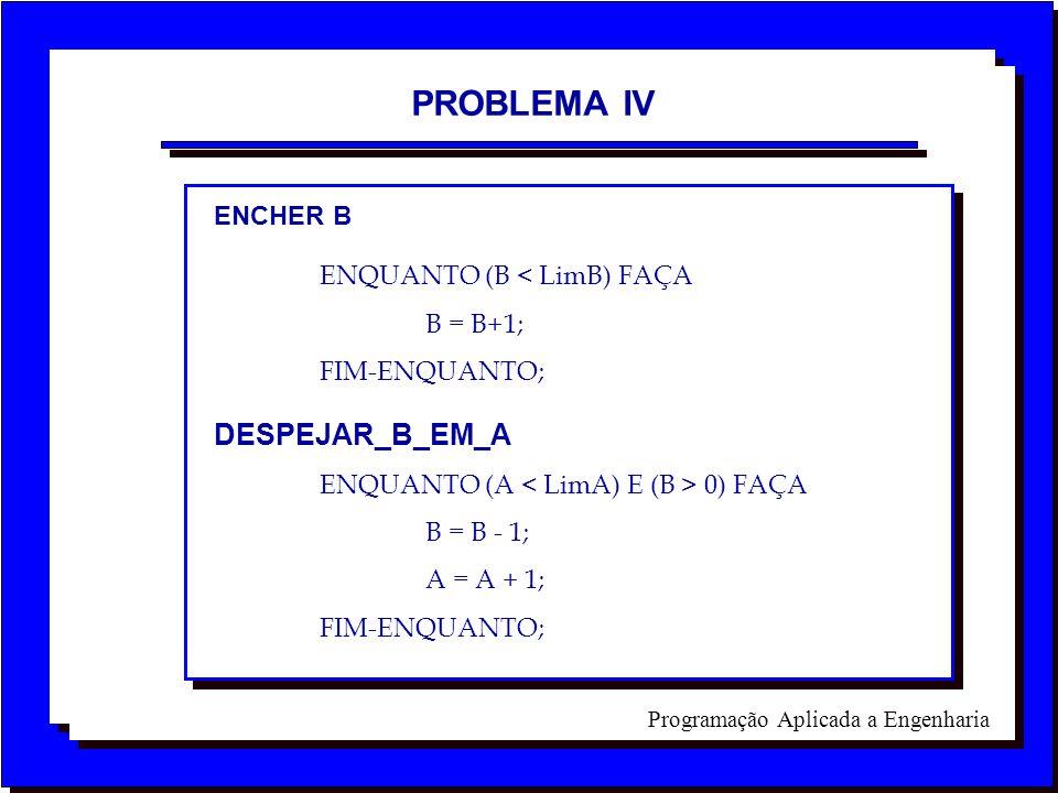 PROBLEMA IV DESPEJAR_B_EM_A ENCHER B ENQUANTO (B < LimB) FAÇA