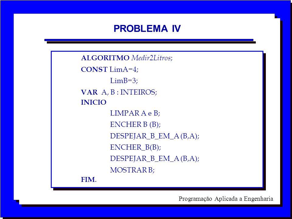 PROBLEMA IV ALGORITMO Medir2Litros; CONST LimA=4; LimB=3;