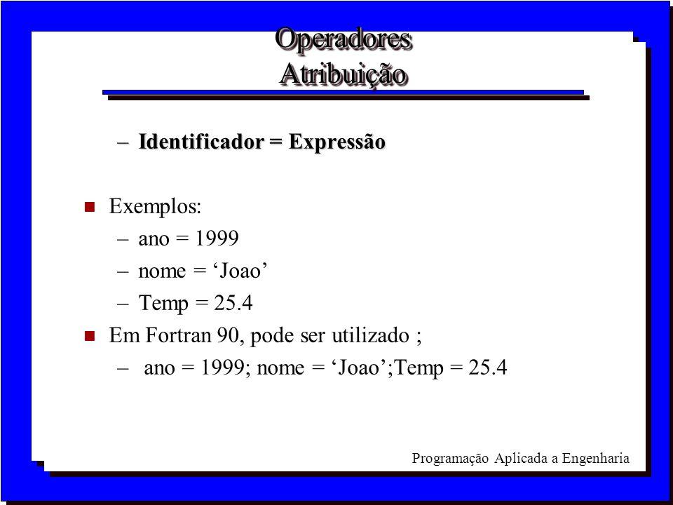 Operadores Atribuição