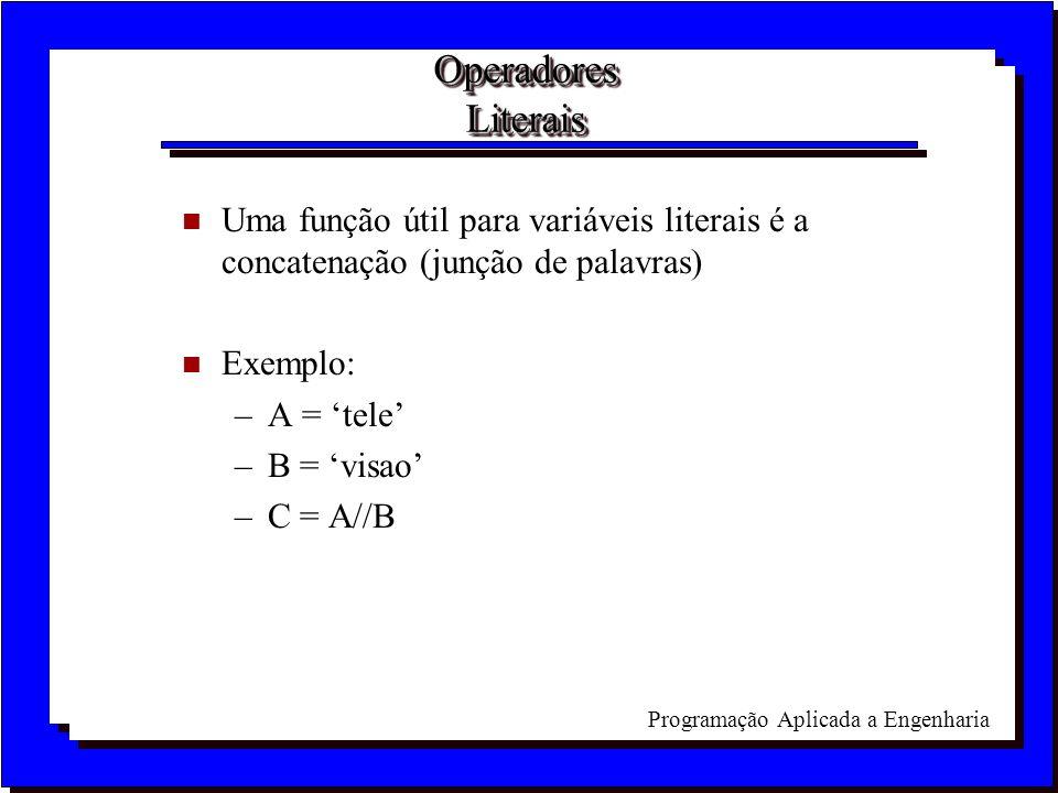 Operadores Literais Uma função útil para variáveis literais é a concatenação (junção de palavras) Exemplo: