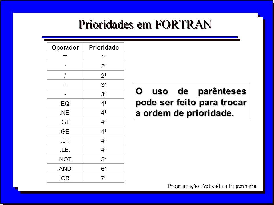 Prioridades em FORTRAN